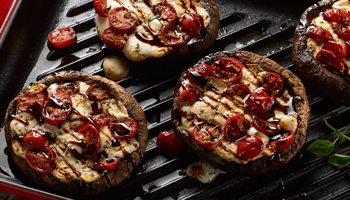 Fresh Mozzarella and Tomato Stuffed Grilled Portobellos