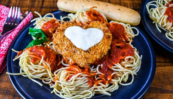 Heart Shaped Chicken Parmesan with Spaghetti