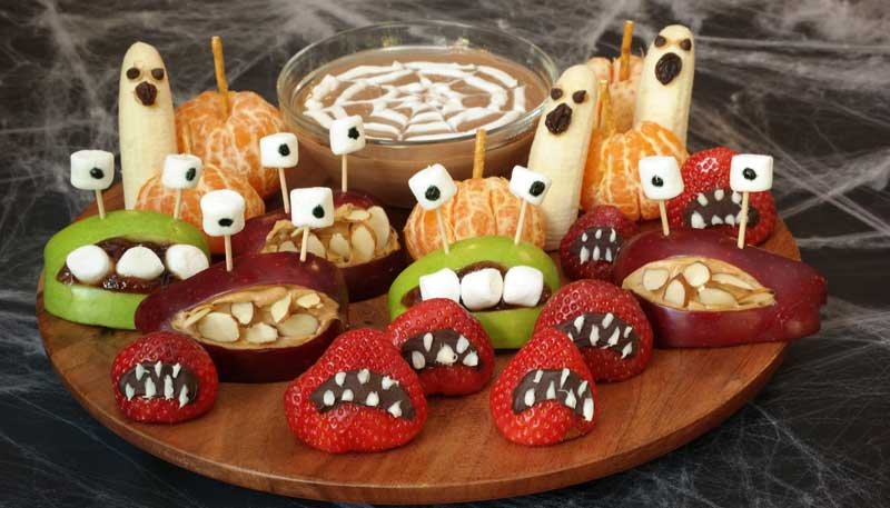 Spooky Fruit Tray with Spider Web Dip