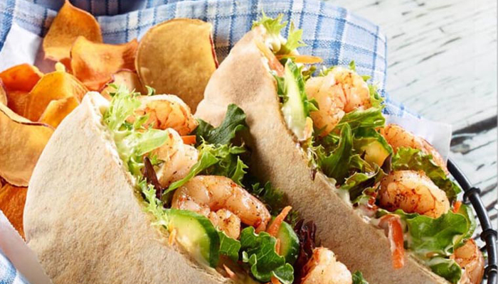 Shrimp and Salad Stuffed Pitas Recipe