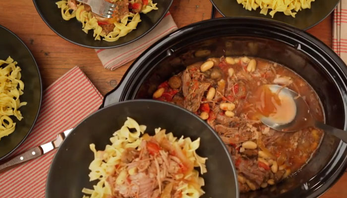 Slow Cooker Tuscan Pork Pasta