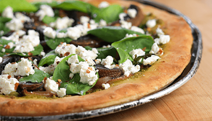 Pizza with Spinach & Arugula